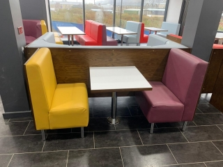 Colourful Fast Food seating and table